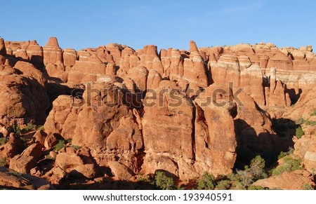Fiery Furnace at Arches National Park in Utah, USA - stock photo