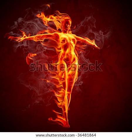 Fiery girl - stock photo