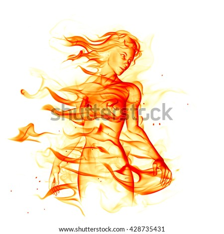 Fiery girl isolated on white background. 3D illustration. - stock photo