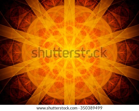 Fiery glowing red mandala in space, computer generated abstract background