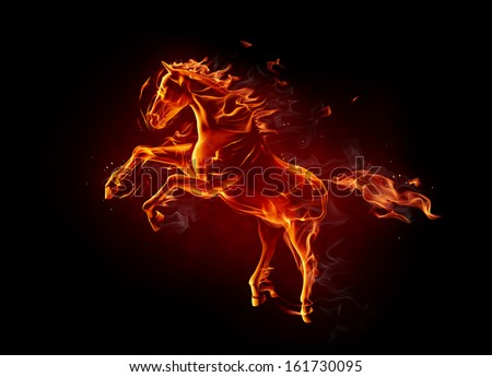 Fiery horse - stock photo
