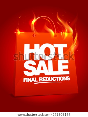 Fiery hot sale design with shopping bag, rasterized version. - stock photo