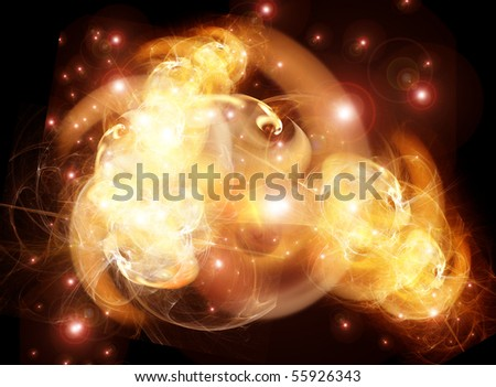 Fiery nebula - stock photo
