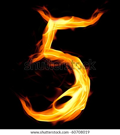 Fiery number five - stock photo