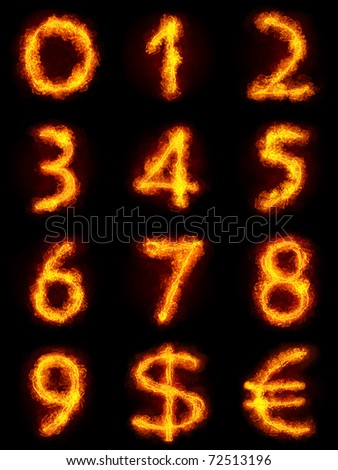Fiery Numbers Set. Flamy numbers on black background - stock photo