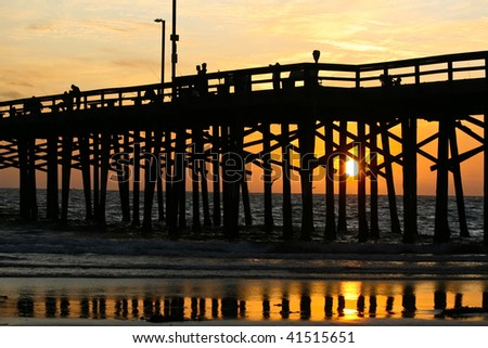 Fiery Orange Sunset - stock photo