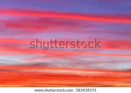 Fiery orange sunset sky. Beautiful sky - stock photo