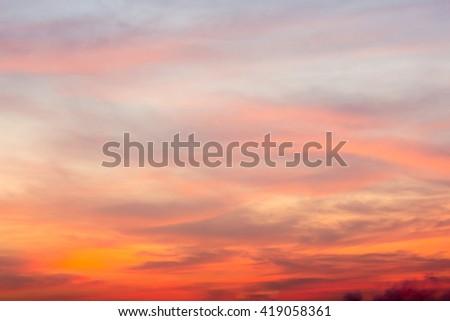 Fiery orange sunset sky Beautiful sky - stock photo
