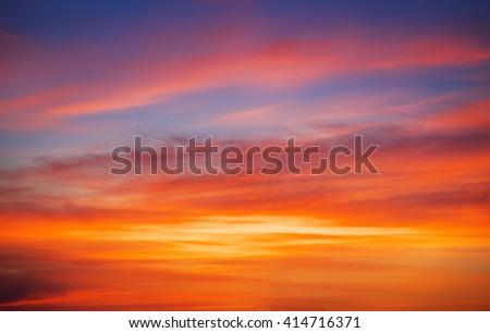 Fiery orange sunset sky. Beautiful sky background. - stock photo