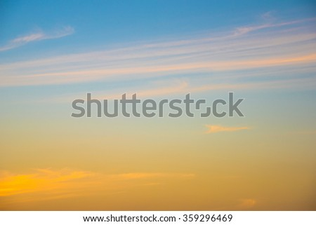 Fiery orange sunset sky. Beautiful sky. Sunset / sunrise with clouds, light rays and other atmospheric effect - stock photo