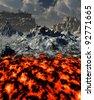 Fiery planet - stock photo