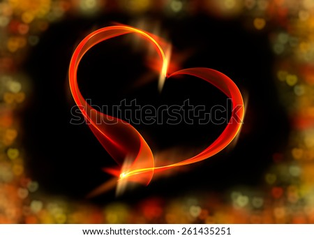 Fiery red ribbon heart with vivid colorful bokeh lights, the concept of love, illustration on black background - stock photo