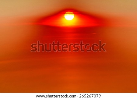 Fiery red sunset sky. Beautiful sky. - stock photo
