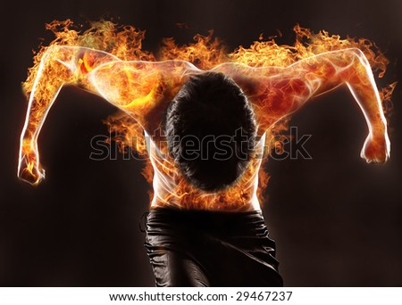 fiery silhouette of athletic man