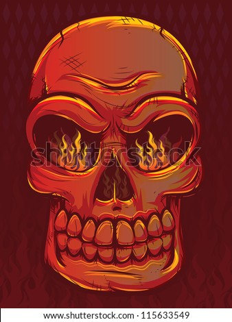Fiery Skull with Flames - stock photo