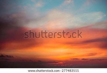 Fiery  sunset sky. Beautiful clouds - stock photo
