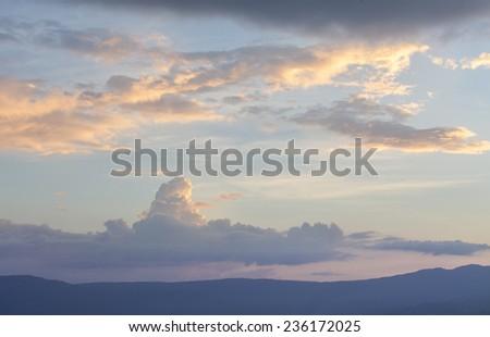 Fiery  sunset sky. Beautiful sky - stock photo