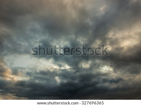 Fiery sunset sky. dramatic clouds - stock photo