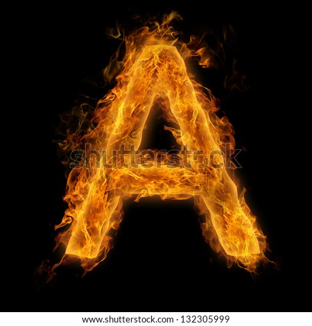 Fiery uppercase letter A - stock photo