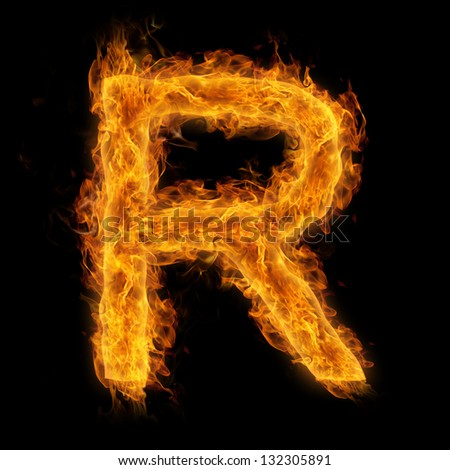 Fiery uppercase letter R - stock photo