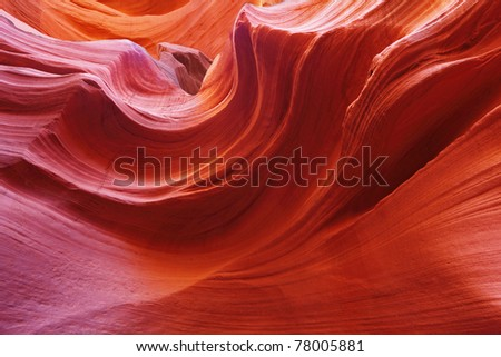 Fiery waves in the stone. The famous Antelope Canyon in the Navajo Indian Reservation. U.S - stock photo