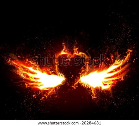 Fiery wings - stock photo