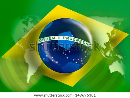 fifa 2014 brazil flag world cup soccer championship or worldcup game - stock photo