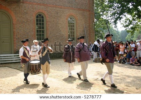 Fife and drum at Colonial WIlliamsburg. Editorial use only. - stock photo