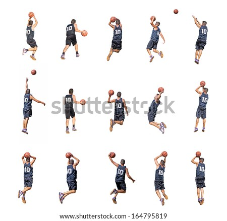 fifteen basketball player silhouettes on white background - stock photo