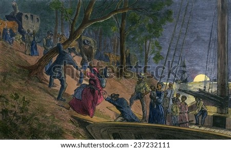 Fifteen fugitive slaves arriving in Philadelphia along the banks of the Schuylkill River in July 1856, Engraving from William Still's history UNDERGROUND RAILROAD 1872 with modern watercolor. - stock photo