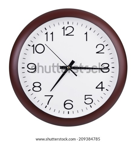 Fifteen minutes past seven on round the clock - stock photo