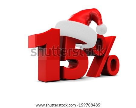 fifteen percent discount christmas sale sign, over white background