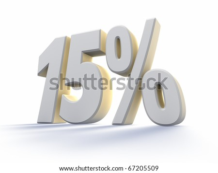 Fifteen percent, large white number with backlit, isolated on white background. 15%