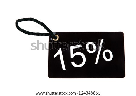 fifteen percent red paper tag isolated on white background - stock photo