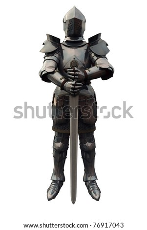 Fifteenth Century late Medieval Knight in Northern Italian Milanese Armour with sword, 3d digitally rendered illustration - stock photo