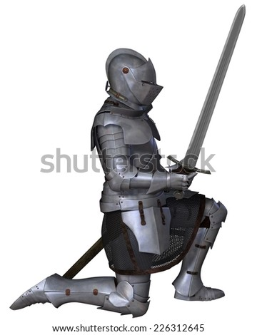 Fifteenth Century late Medieval Knight in Northern Italian Milanese Armour with sword, standing in a kneeling pose, 3d digitally rendered illustration - stock photo