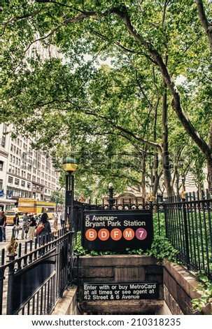 Fifth Avenue - Bryant Park subway station entrance in New York. - stock photo