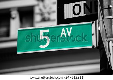 Fifth avenue green sign 5 th Av New York Manhattan USA - stock photo