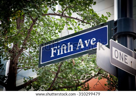 Fifth Avenue street sign - stock photo