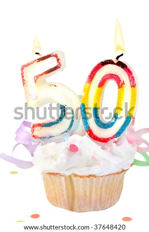 fiftieth birthday cupcake with white frosting on a white  background - stock photo