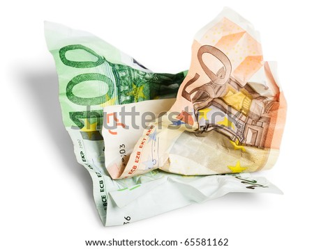 Fifty and hundred crumpled euro isolated on white - stock photo
