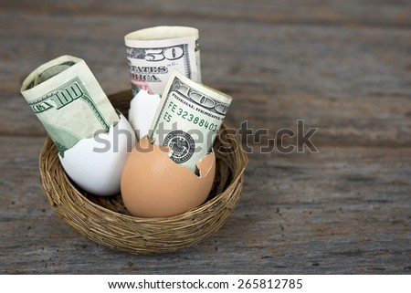 fifty and hundred dollar bills in white and brown egg shells in nest on rustic old wood - stock photo