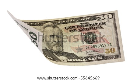 fifty dollar banknote,isolated on white with clipping path. - stock photo