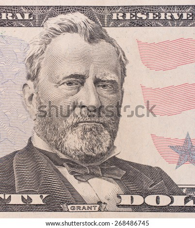 Fifty dollar bill macro, 50 usd, president Ulysses Grant portrait, united states money closeup - stock photo
