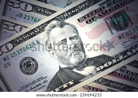 Fifty dollars background  - stock photo