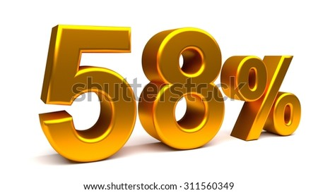 Fifty eight percents 3D text, with big golden fonts isolated on white background. Rendered illustration.
