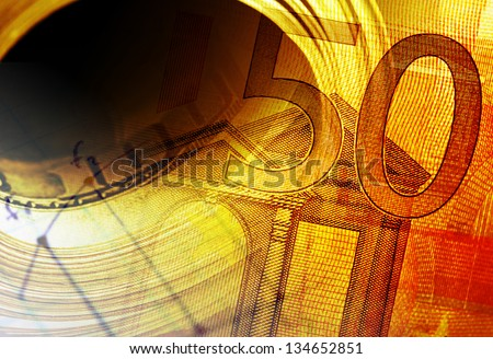 Fifty euro banknote and roll of dollars. Macro image. - stock photo