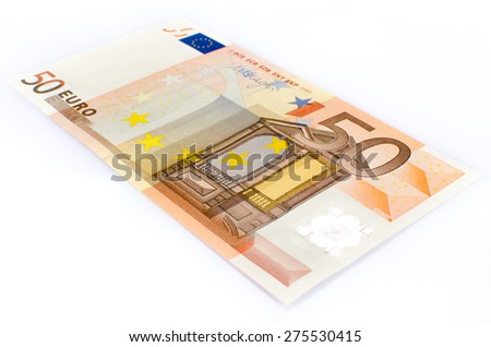 Fifty euro banknote, isolated on white - stock photo