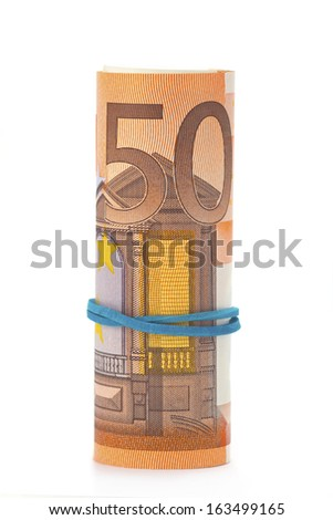 Fifty euro banknote with rubber band isolated on white background - stock photo