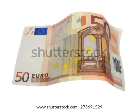 fifty euro banknotes isolated on white - stock photo
